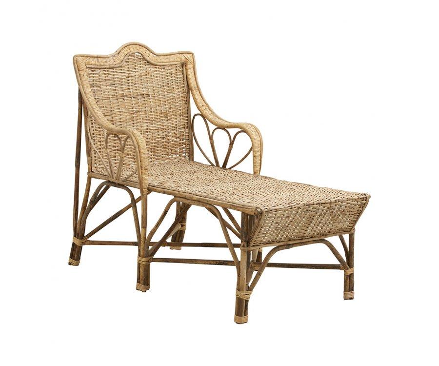 Chaise longue en rotin look bohème ABAJO