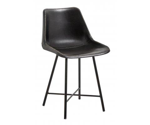 Chaise vintage en cuir noir BASTANTE