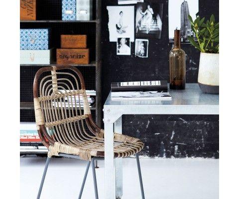 2 Chaises rotin et métal style ethnique KAWAM