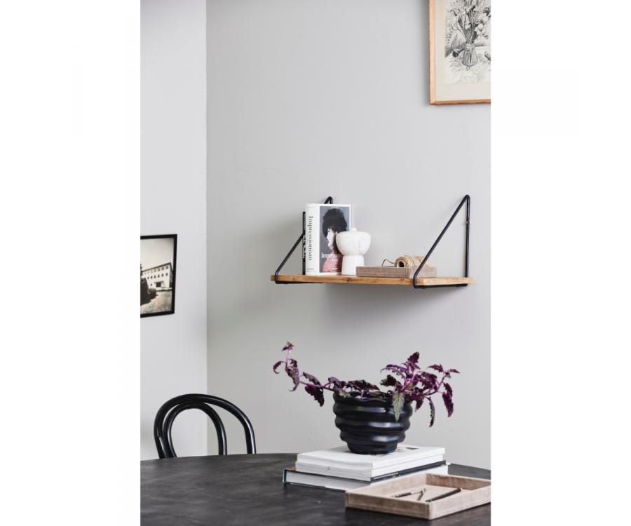Étagère murale 1 planche en bois et métal noir FATTO