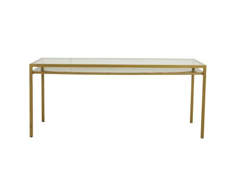 Table à manger 180x80cm en verre et métal doré SIEMPRE