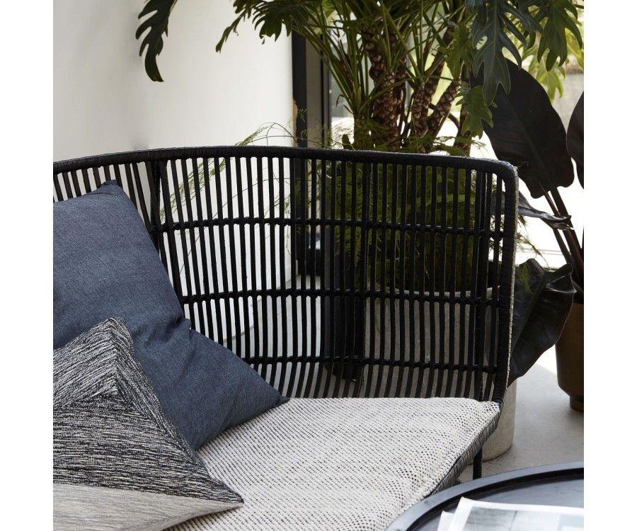 Canapé 2 places style ethnique en rotin noir BOMOKO