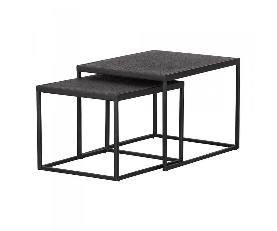Lot de 2 tables gigognes extérieur en métal noir SICO