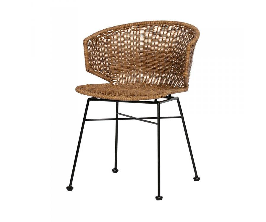 Chaise en rotin et armature métalique noire SIDO