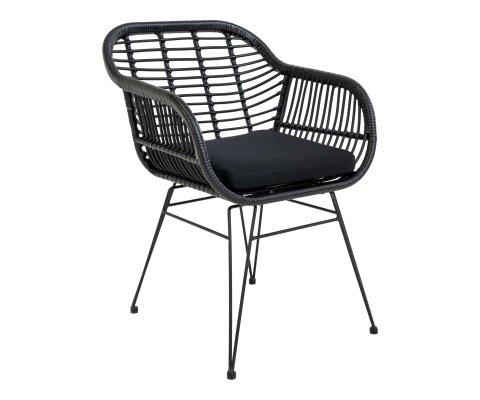 Chaise avec accoudoirs aspect rotin avec coussin AMIO