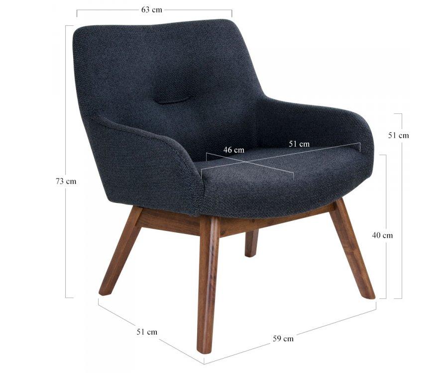 Fauteuil lounge tissu et bois-HARMANCE