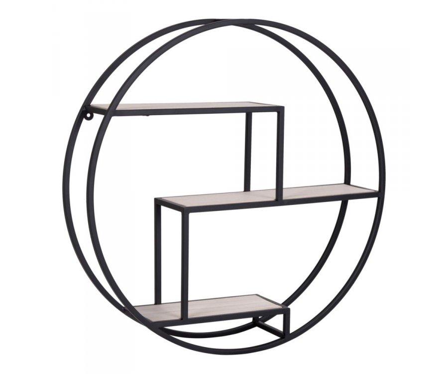 Étagère rond métal et bois industrielle-MAXIN