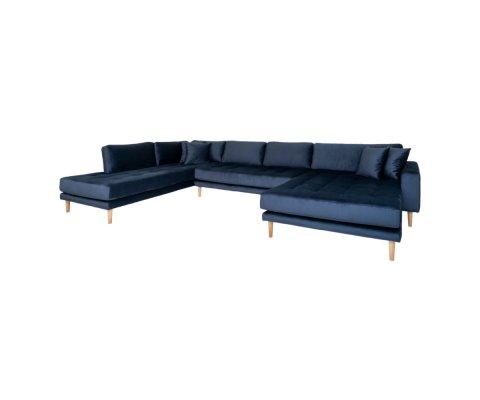 Canapé panoramique en velours bleu MILIME