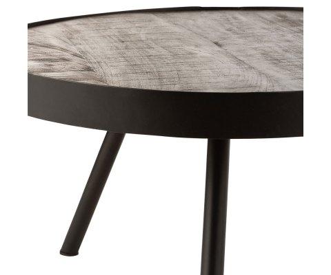 Table basse ronde en bois et métal CHARLY