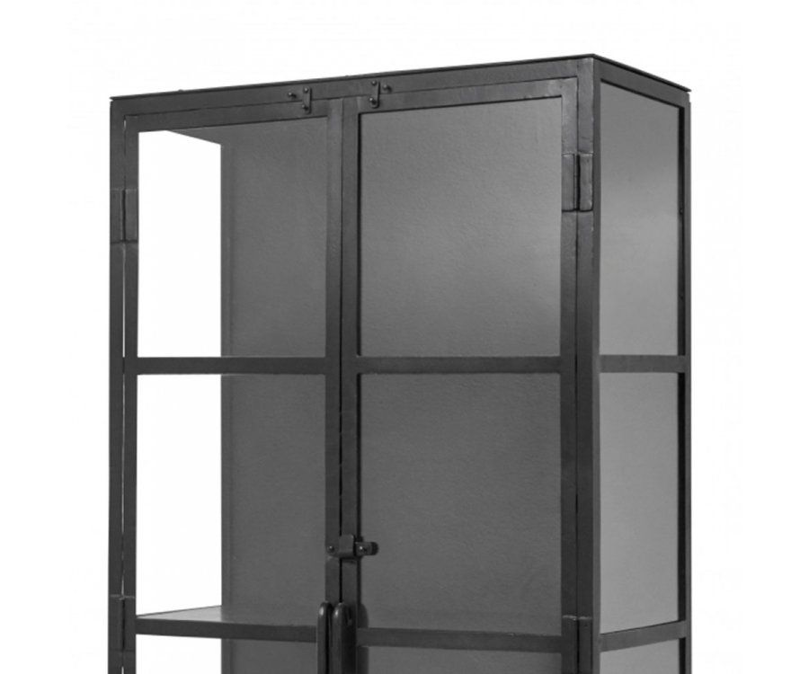 Grande étagère vitrinne métal noir FOGGY - Nordal
