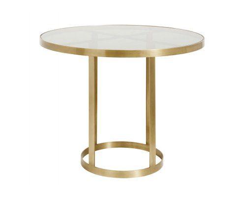 Table à manger métal doré plateau verre GOLDENA
