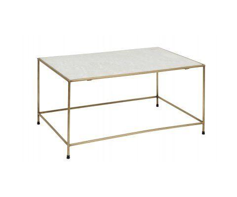 Table basse métal doré marbre blanc TIMELESS - Nordal