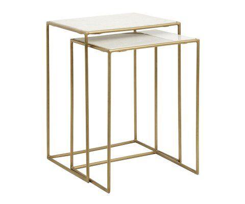 Tables gigognes marbre blanc métal doré BRASSORK