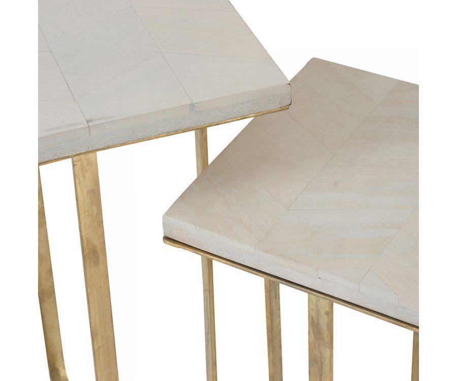 Duo tables gigognes pieds métal doré TINA