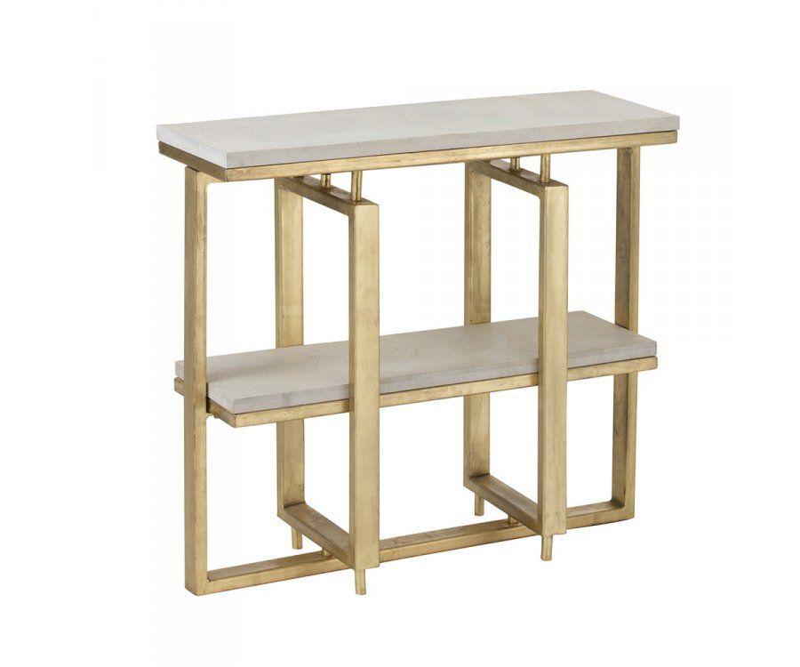 Console design bois et métal blanc et or TINA