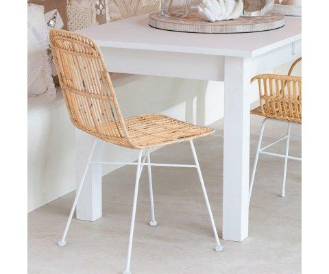 Chaise moderne en rotin et métal blanc EMAL