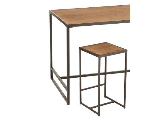 Tabouret de bar minimaliste en bois et métal GAZI