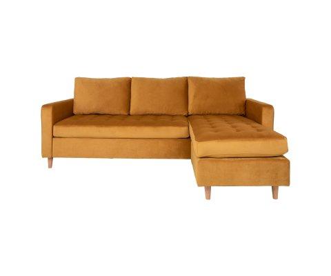 Canapé d'angle tissu scandinave velours-KIKA