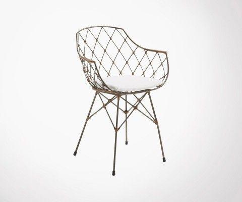 Chaise bras métal rotin tissu blanc NERGY