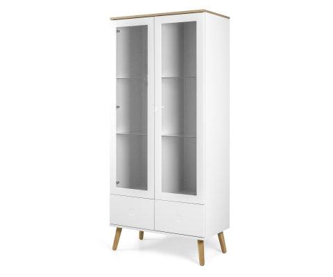 Armoire scandinave portes vitrées avec tiroirs ZINO