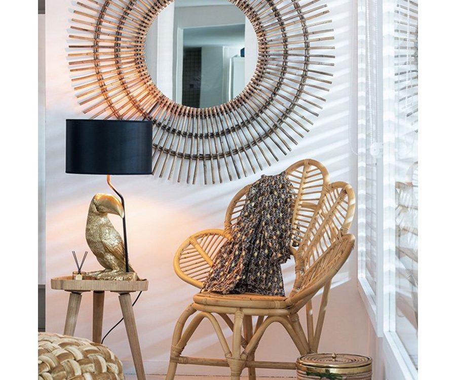 Lampe art déco forme toucan résine doré TOUCANE