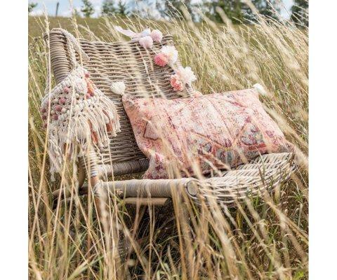 Fauteuil lounge de jardin en teck tréssé SYBIL