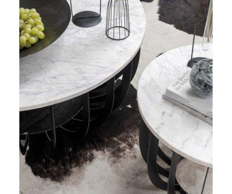 Table basse ronde marbre et métal ASAR