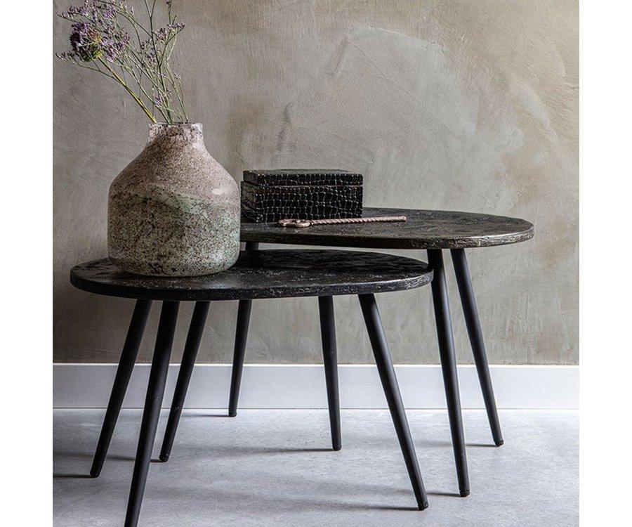 Lot de 2 tables d'appoint en bois et métal REBELLE