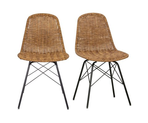 Lot de 2 chaises tendances aspect rotin BOBI