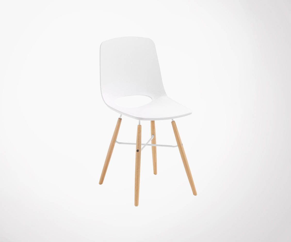 white seat and wood base design dining chair online
