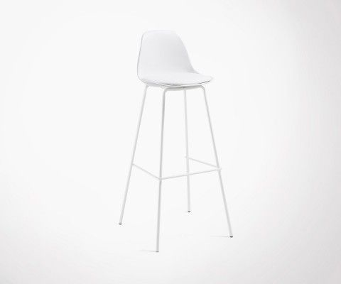 Tabouret bar pieds métal assise rembourrée blanche NASALY
