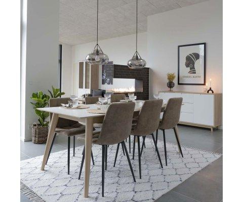 Table à manger scandinave 195-285 X 90 cm-PAOLO