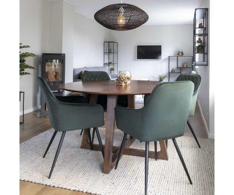 Table à manger ronde bois 137 cm-PAOLA