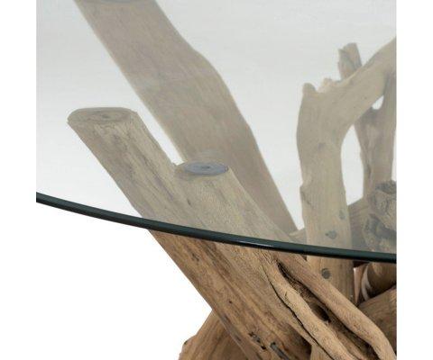 Table à manger ronde bois et verre BOHEMIANE