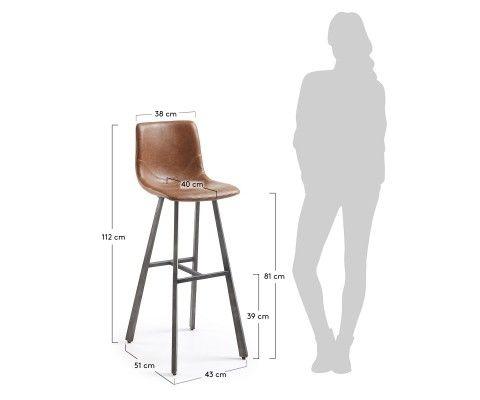 Tabouret bar design assise simili cuir marron CRAT