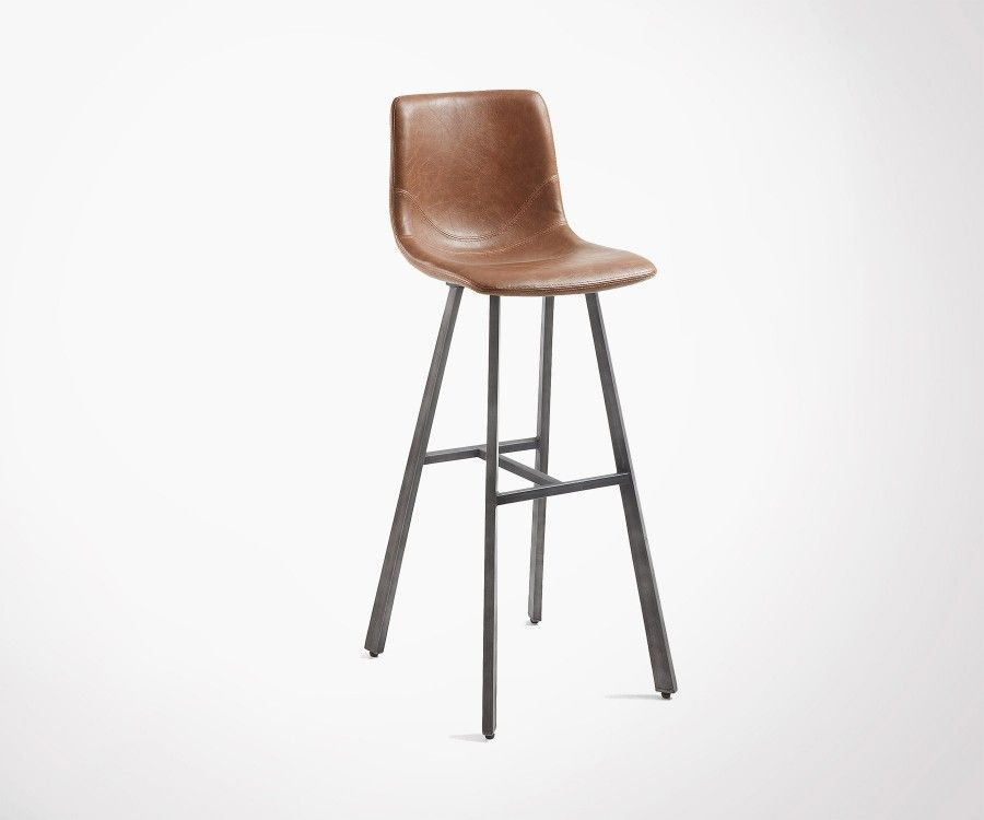 Tabouret bar design assise simili cuir marron CRAT