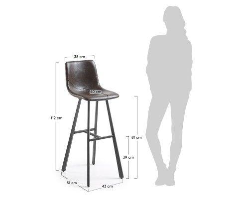 Tabouret bar design assise simili cuir marron foncé CRAT