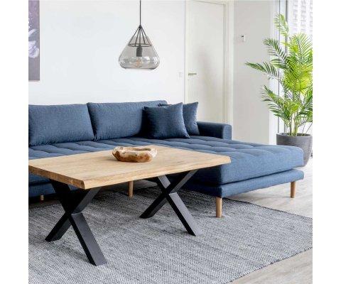 Canapé d'angle droit en tissu avec coussins MILIME