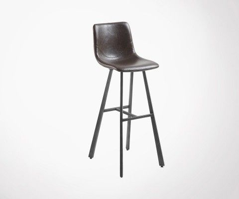 Tabouret bar design assise simili cuir marron foncé CRAT
