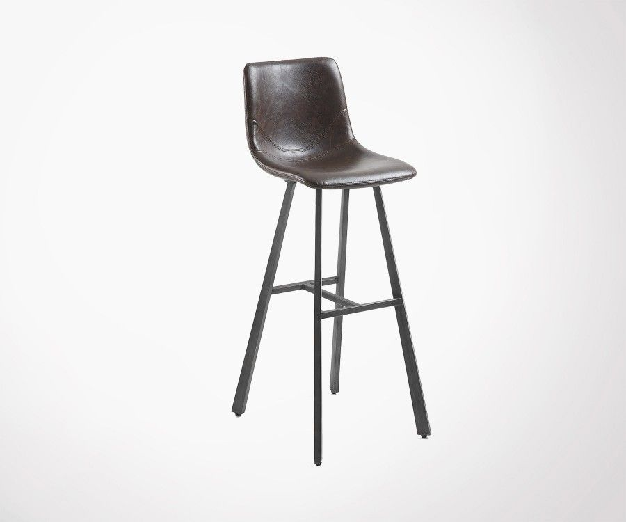 tabouret bar design assise simili cuir marron fonc crat - Tabouret Bar Design