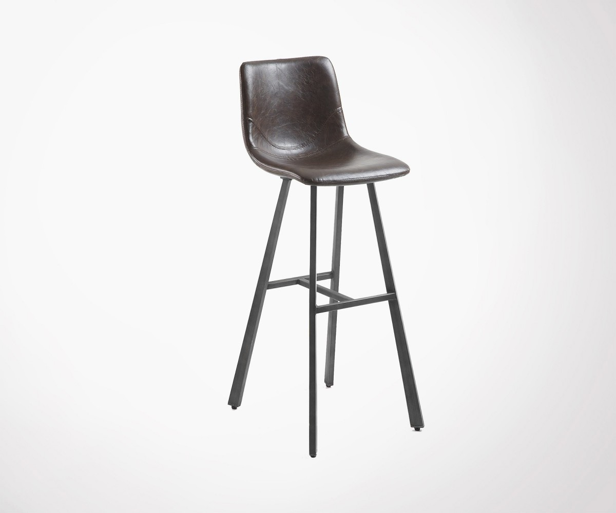 tabouret bar design industriel assise simili cuir marron fonc. Black Bedroom Furniture Sets. Home Design Ideas