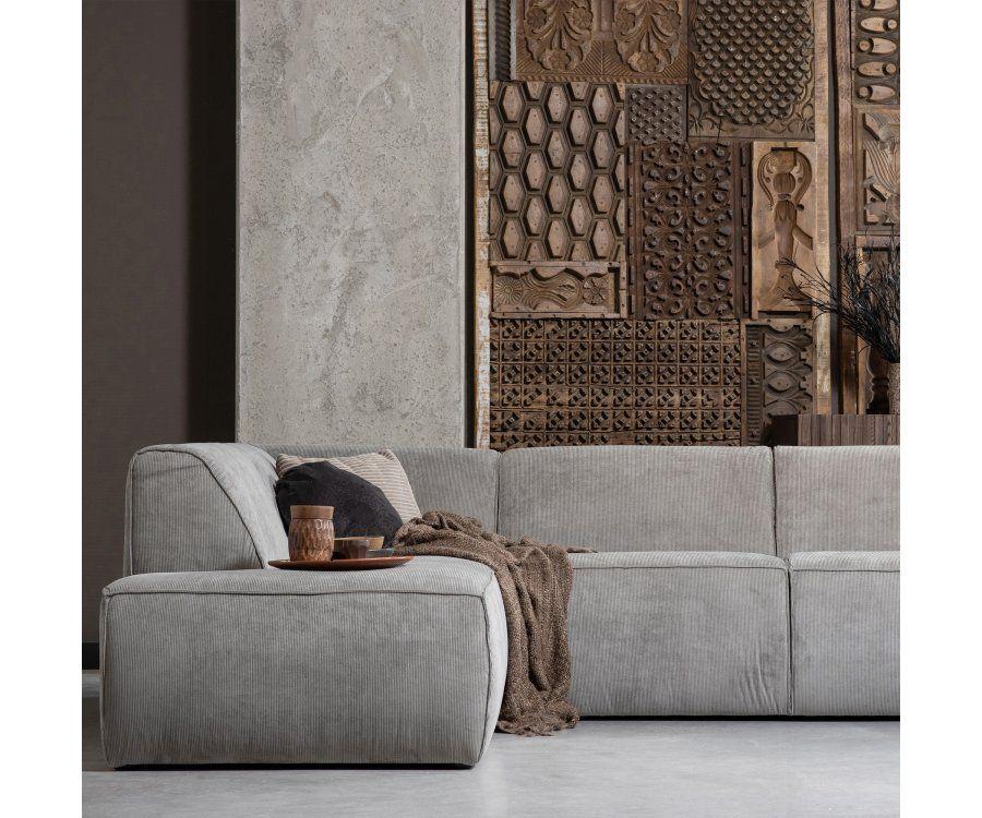 Canapé d'angle gauche velours côtelé LUNA - Woood