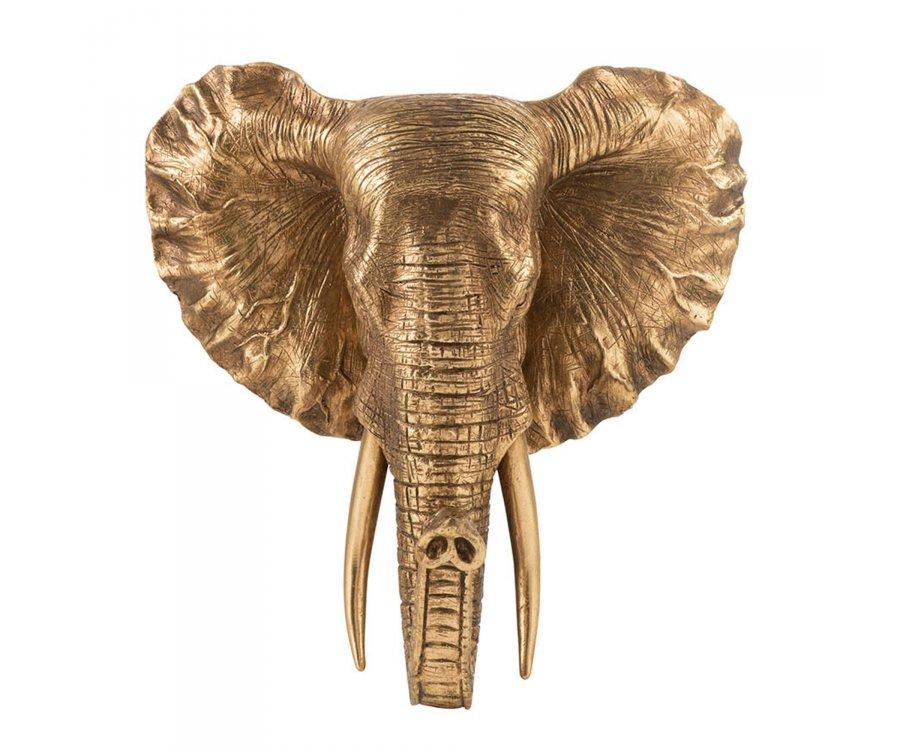 Trophée en résine antique doré ELEPHANT