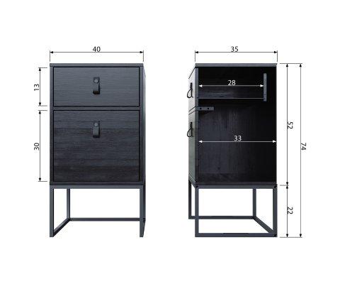 Table de chevet avec tiroir et porte GEARID - Woood DHK - 1