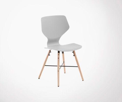 Chaise bois naturel coque plastique THEA