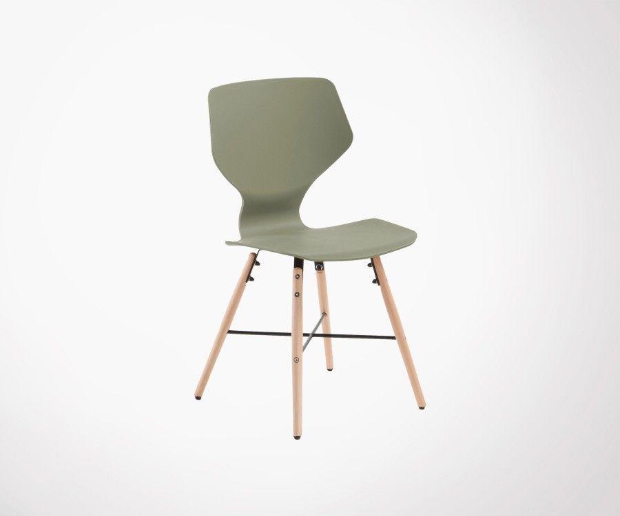 Chaise bois naturel coque plastique blanc THEA