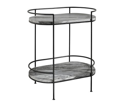 Table d'appoint ovale marbre gris 74cm MIDNIGHT
