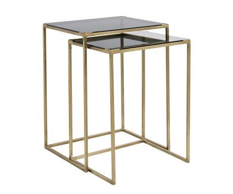 Tables gigognes métal doré et verre noir fumé BRASSORK