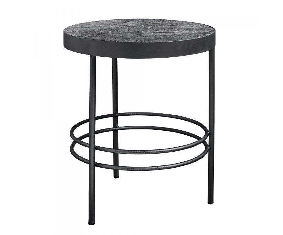 Table ronde d'appoint marbre noir 50cm MIDNIGHT - Nordal