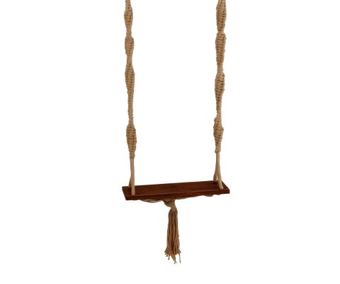 Balançoire intérieur extérieur en bois et tissu beige ANASTASIA